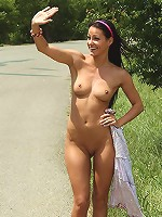 Melissa Nude Hitchhiking in Public and Bottle Insertions