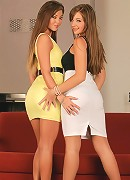 Cate and Natali - Dazzling teens fuck a double dildo