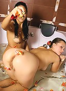 Girls playing around in the bath!