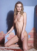 Beautiful stunning curly blonde Katerina shows her tight shaved pussylips