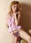 Blonde teen Yara takes off her pink panties and shirt