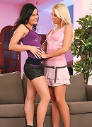 Alica and Nikol - Brunette and blonde lap and finger